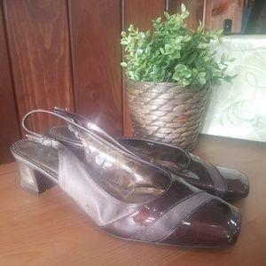J.Renee Brown chunky heel slingback shoe